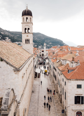 Looking down the main promenade in Dubrovnik, Croatia