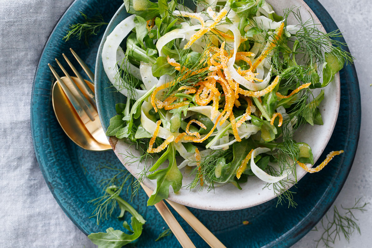 Fennel and Arugula Salad with Candied Orange Peel