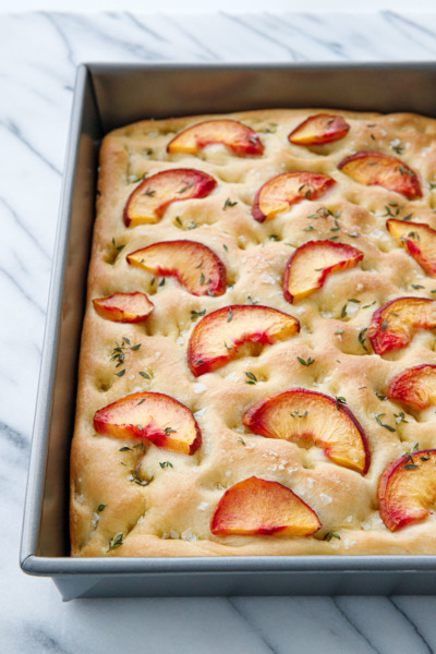 Peach & Fresh Herb Focaccia Bread in a 13-by-9-inch pan