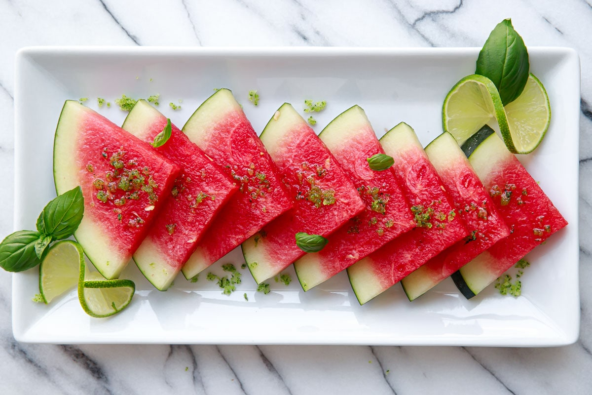 Watermelon with Basil Lime Sugar