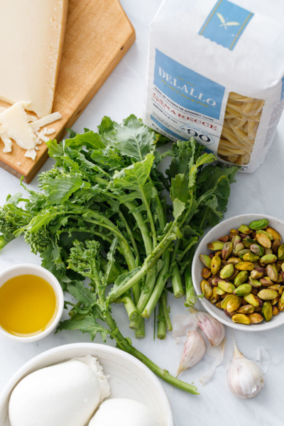 Ingredients to make Broccoli Raab and Pistachio Pesto Pasta with Burrata