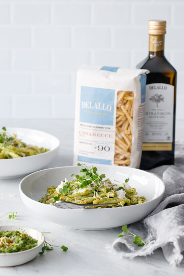 Broccoli Raab and Pistachio Pesto Pasta with Burrata made with DeLallo pasta and olive oil