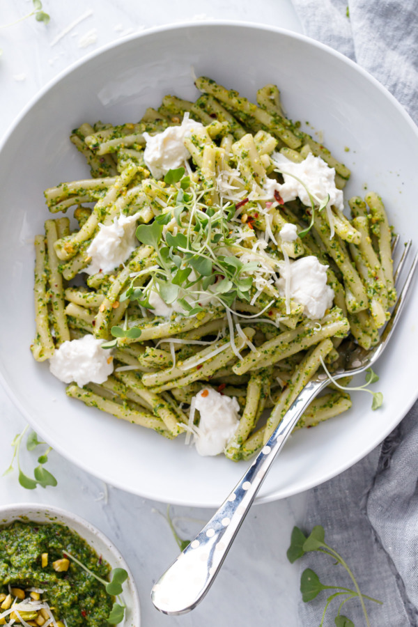 Broccoli Rabe and Pistachio Pesto Pasta with Burrata