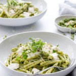 Broccoli Raab and Pistachio Pesto Pasta with Burrata