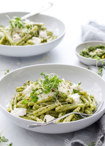 Broccoli Raab and Pistachio Pesto Pasta with Burrata