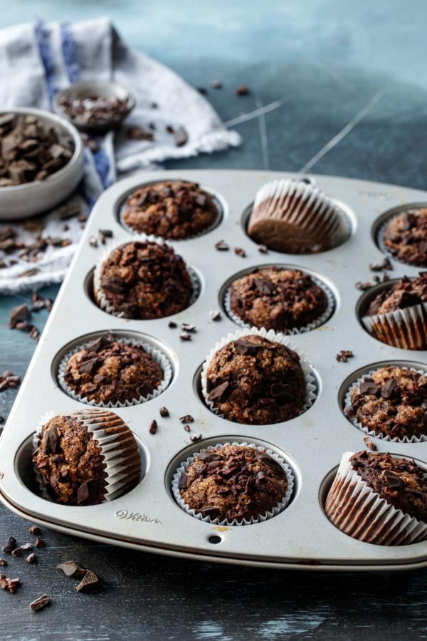 Chocolate Banana Rye Muffins