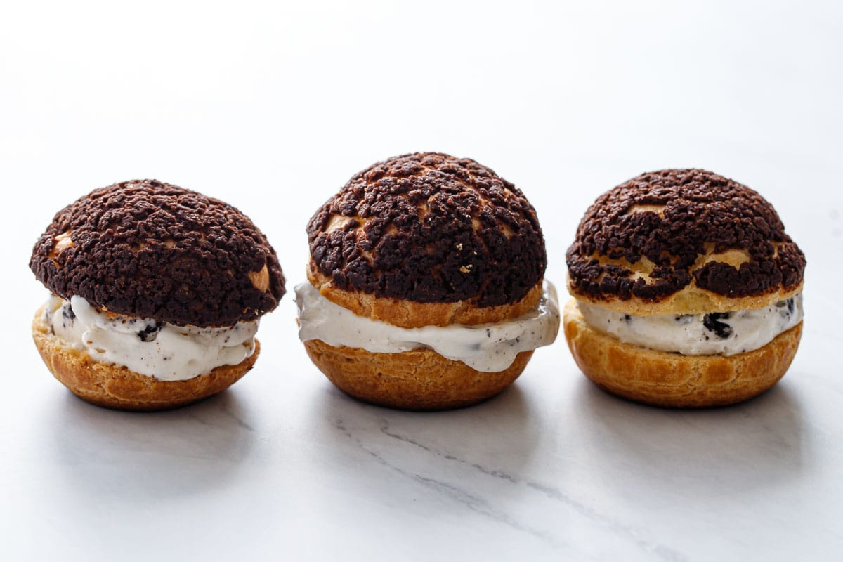 Cookies 'n Cream Puff Ice Cream Sandwiches