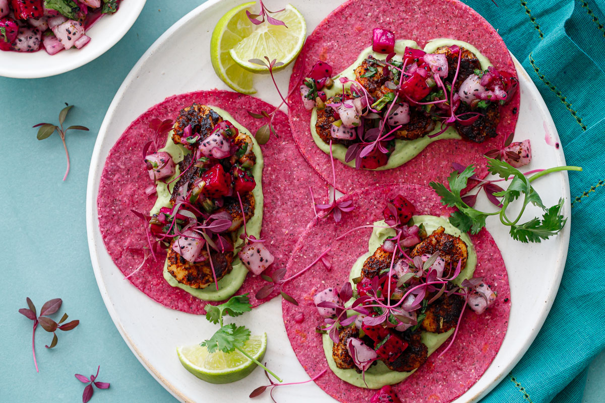 Blackened Shrimp Tacos with Dragonfruit Salsa