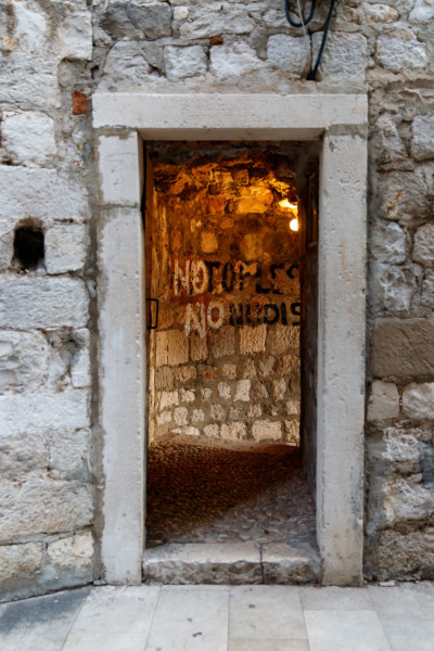 No Topless. No nudis. Doorway to a waterfront bar in Dubrovnik, Croatia.
