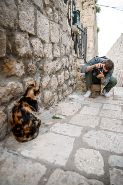 Photographing one of Dubrovnik's many street cats