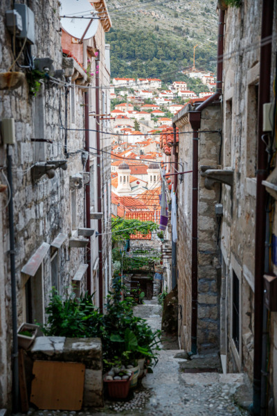 Narrow streets and alleys of Dubrovnik, Croatia