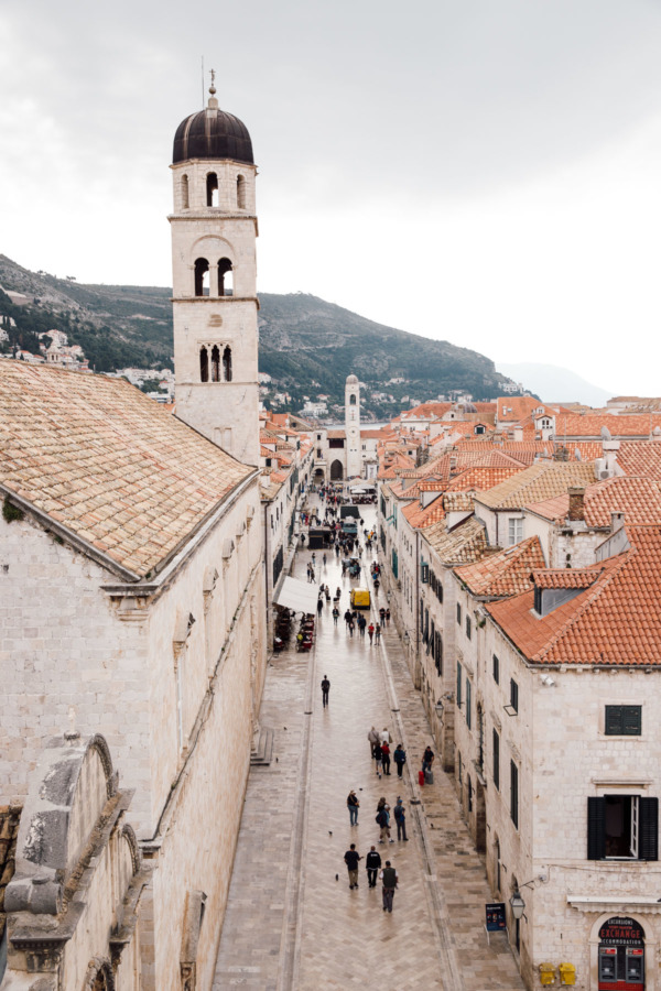 Looking down on the main promenade from the medieval wall, Dubrovnik, Croatia
