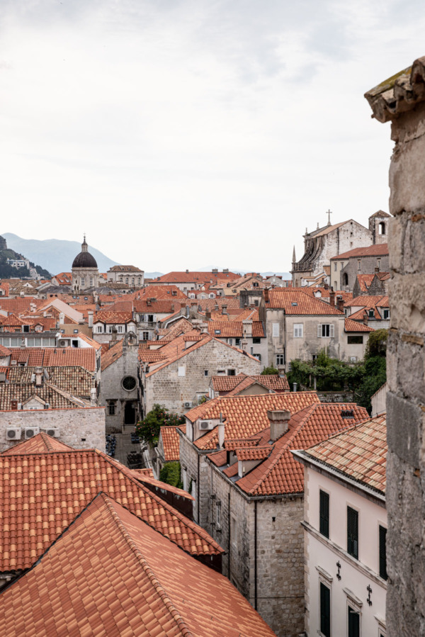 Looking across the red tiled roofs in Dubrovnik, Croatia