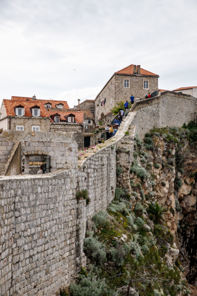 Walking the medieval wall surrounding Dubrovnik, Croatia