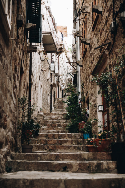 Steep stairway in Dubrovnik, Croatia