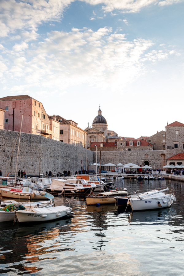 Harbor at dusk, Dubrovnik, Croatia