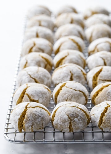 Soft, chewy and crinkly: Pistachio Amaretti Cookies