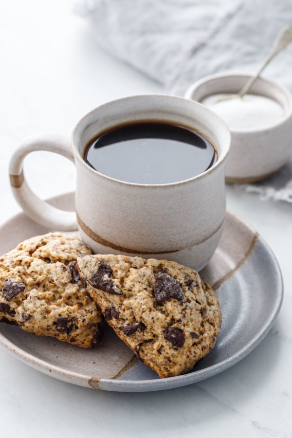 Espresso and Dark Chocolate Chunk Cream Scones - Perfect with your morning coffee!