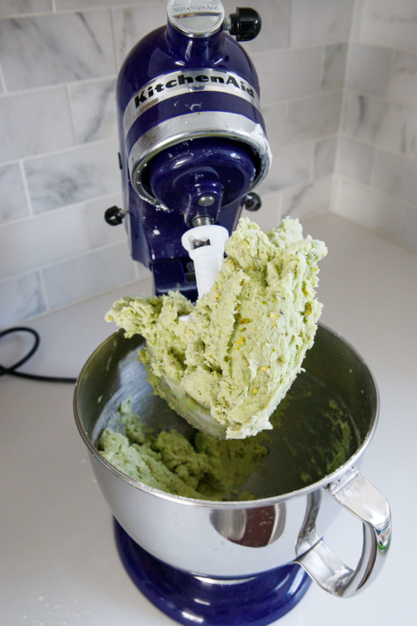 Stand mixer with pistachio sugar cookie dough
