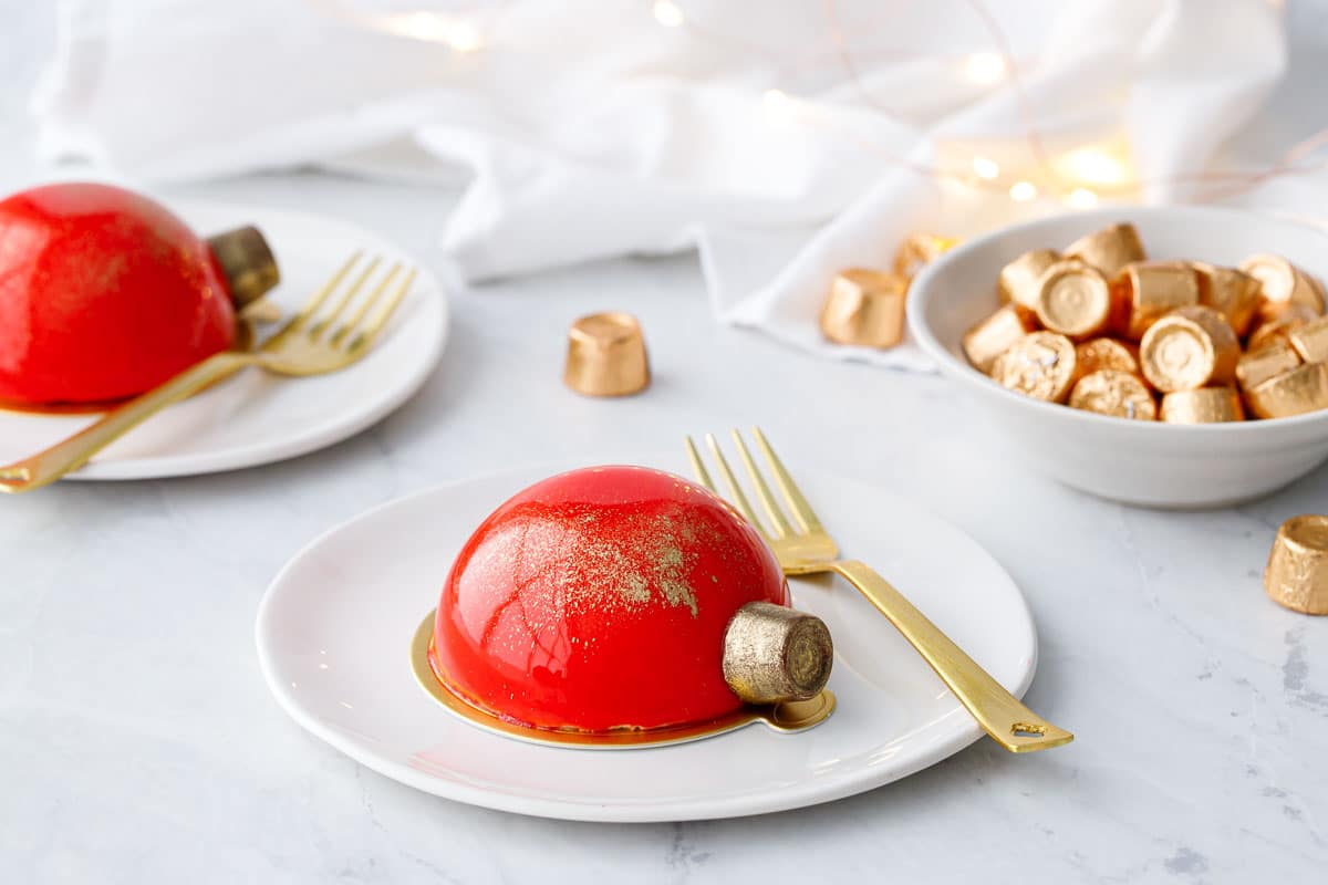 Mirror Glaze Christmas Ornament Cakes