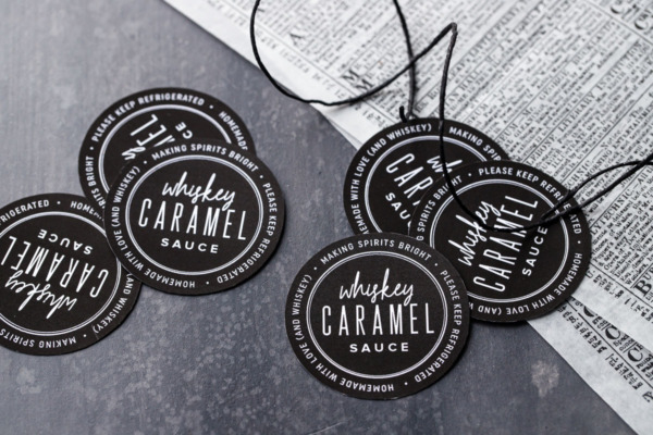 Round labels for homemade whiskey caramel sauce