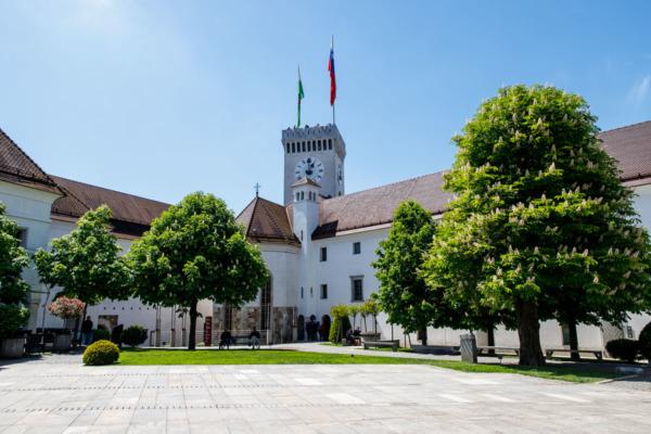 Central square of Ljubljana Grad castle in Slovenia