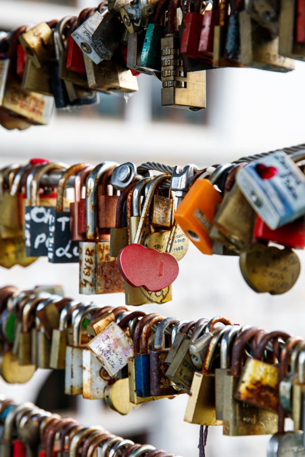 Closeup of locks along the Butcher's Bridge in Ljubljana, Slovenia