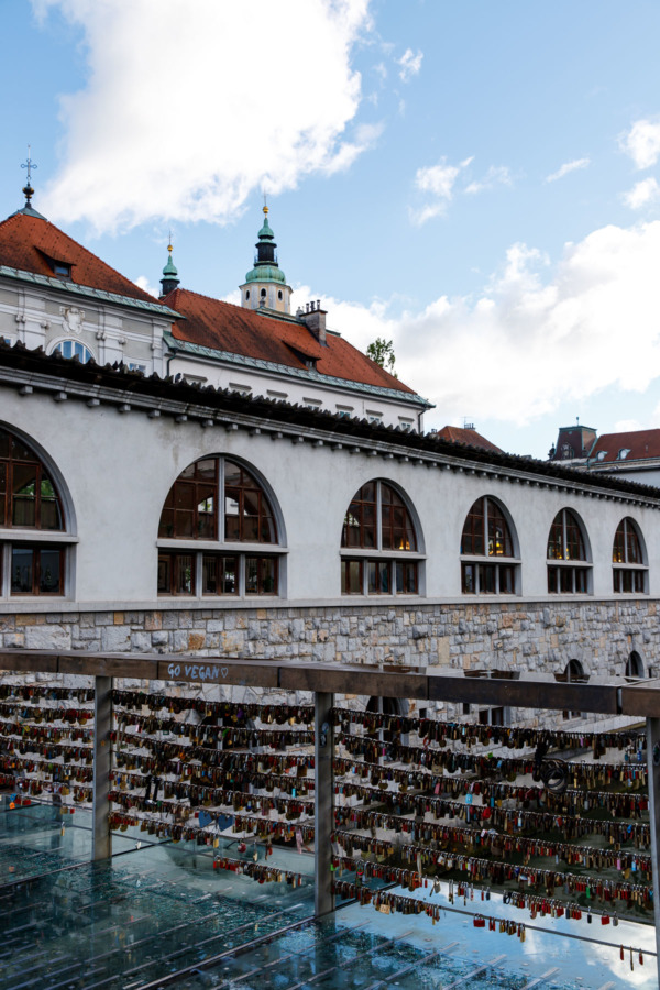 Looking at the Central Market building from the Butcher's Bridge in Ljubljana, Slovenia