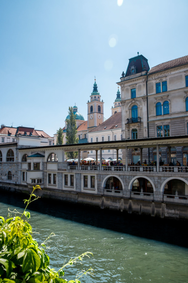 Looking across the river to the Central Market building in Ljubljana, Slovenia