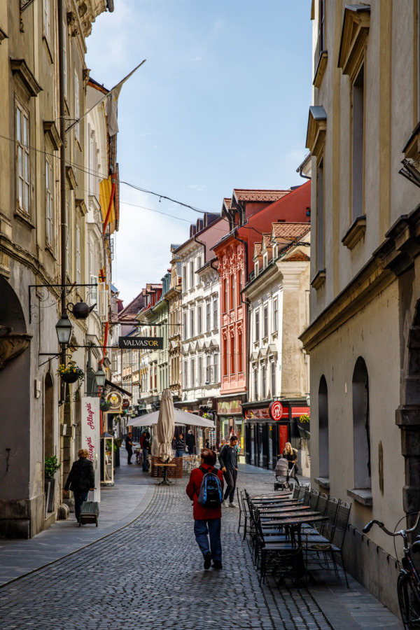 Walking down the cobblestone streets of historic downtown Ljubljana, Slovenia