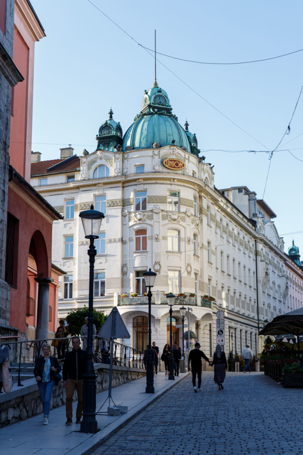 Street with Grand Hotel Union, Ljubljana, Slovenia
