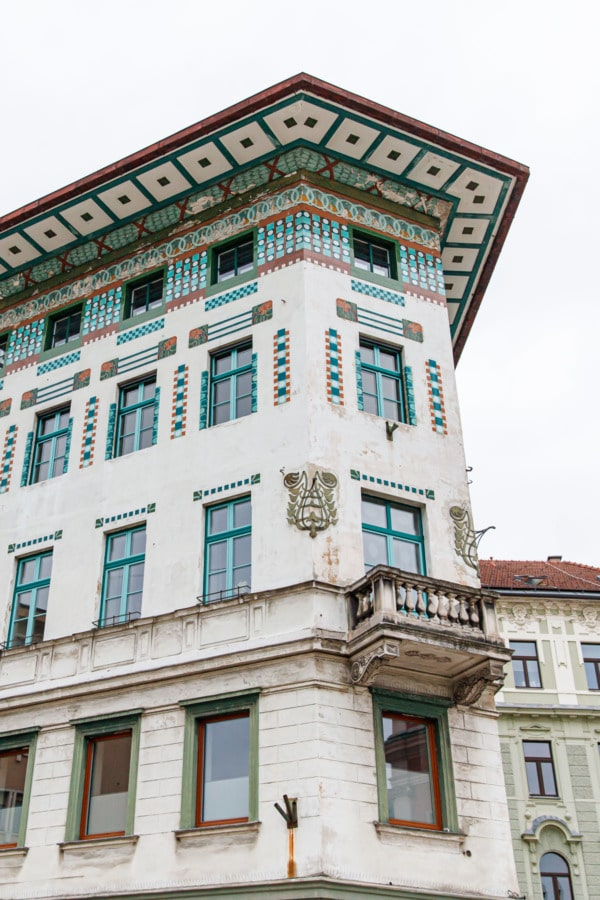 The Art Nouveau style Hauptmann House in Prešeren Square, Ljubljana, Slovenia