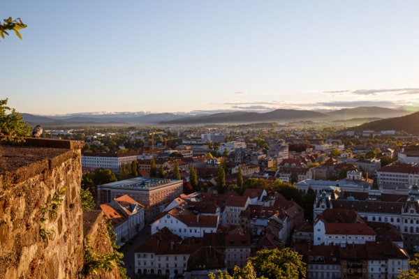 Sunset in Ljubljana, Slovenia, looking out over the city from the castle ramparts