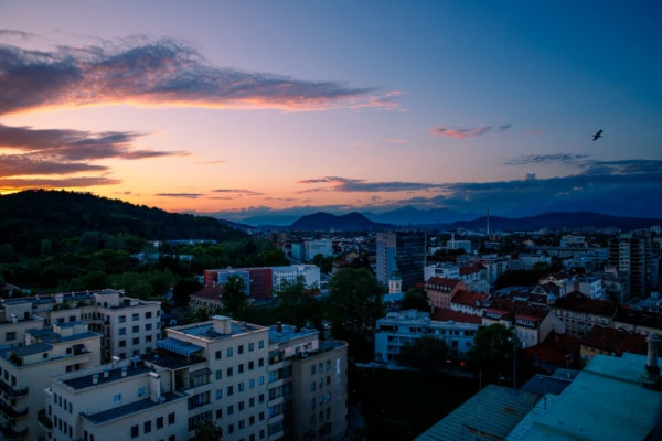 View of Ljubljana, Slovenia at sunset