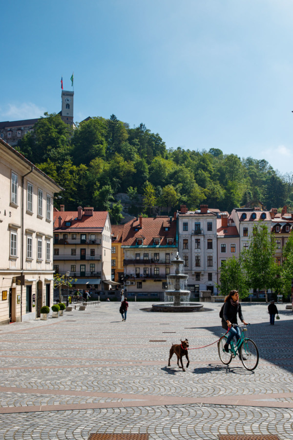 Novi Trg square and fountain looking towards the castle in Ljubljana, Slovenia