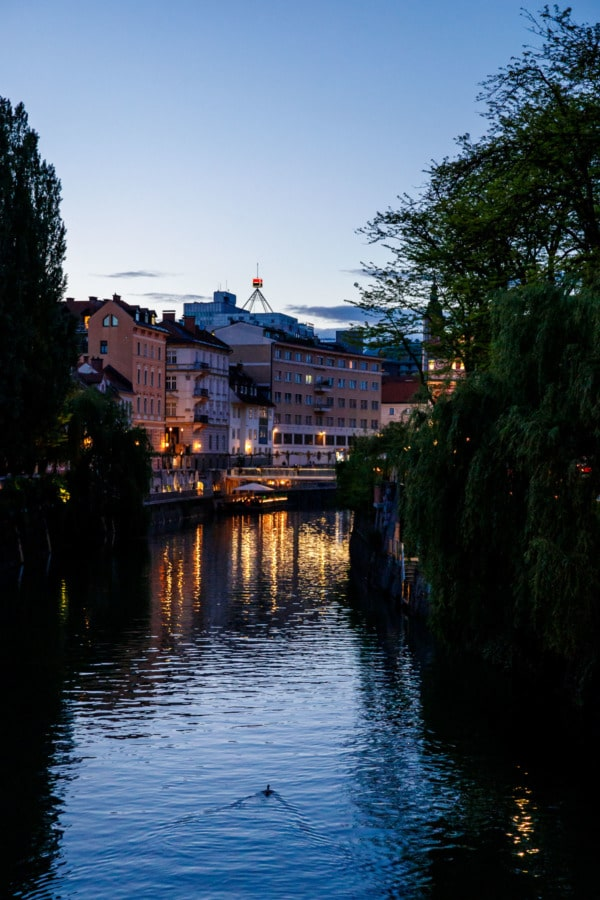 Along the Ljubljanica river at night, Ljubljana, Slovenia