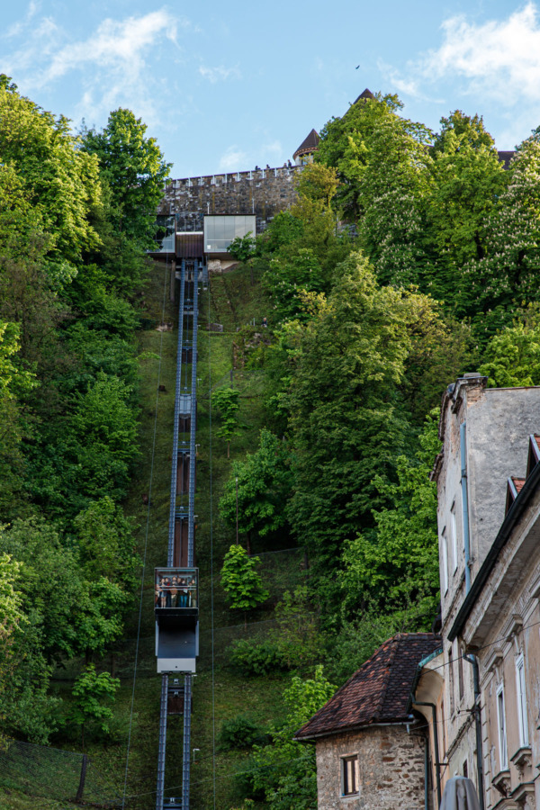 Glass Funicular going up to the top of Castle Hill in Ljubljana, Slovenia