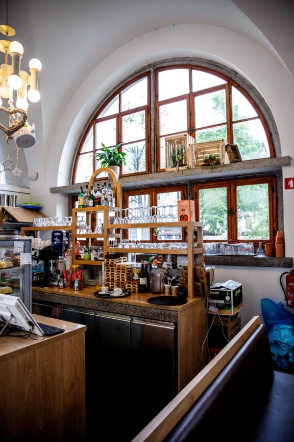 Inside of a štruklji pastry shop in the Central Market building of Ljubljana, Slovenia