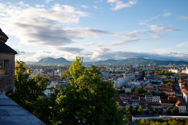 Looking out over the city of Ljubljana, Slovenia from the top of the Castle hill