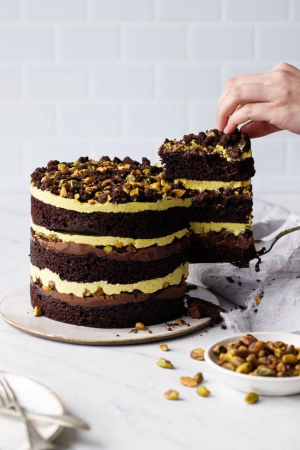 Flourless Chocolate Pistachio Pear Naked Layer Cake {Paleo}