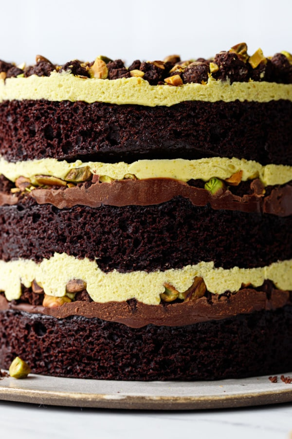 Extreme closeup of the naked layers of this Dark Chocolate Pistachio Naked Layer Cake