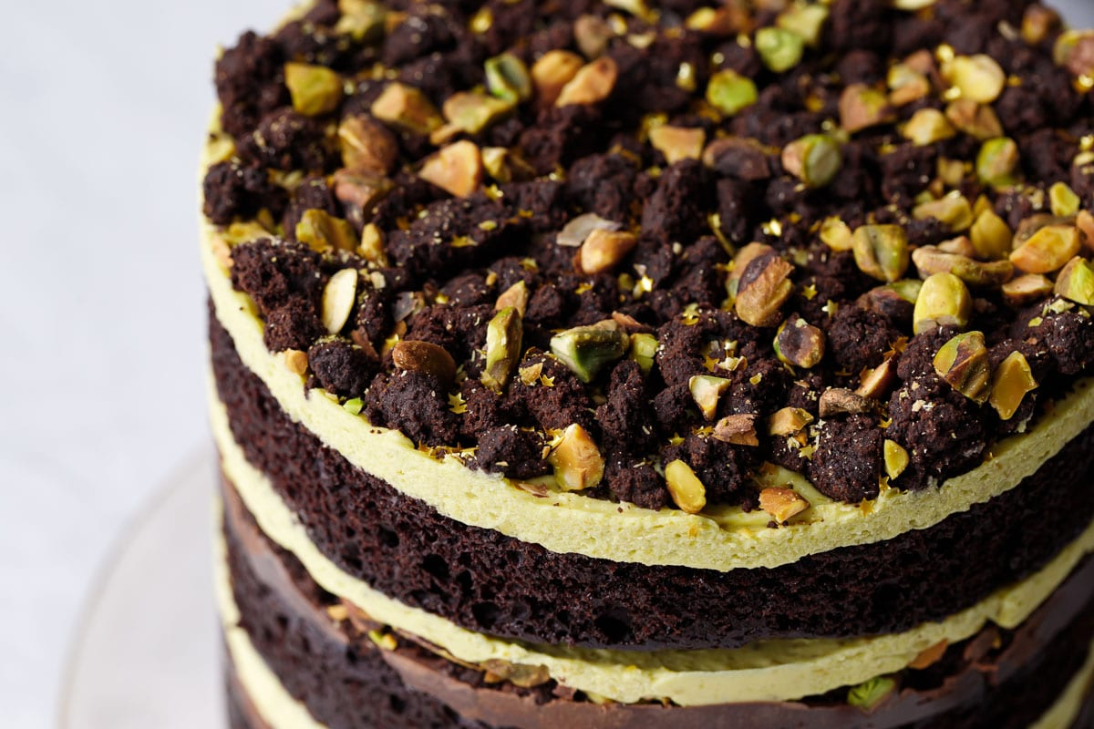 Chocolate & Pistachio Naked Layer Cake