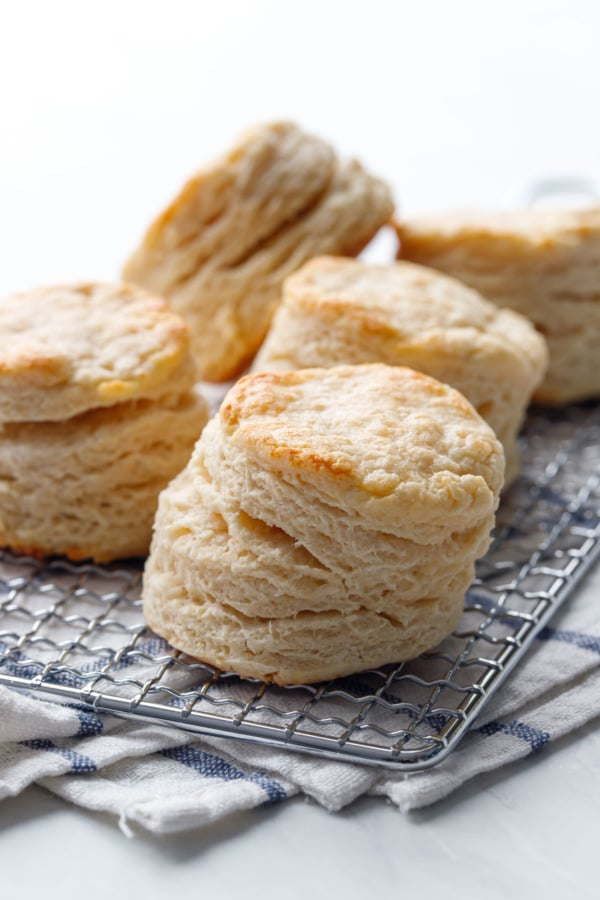 Tall, extra flaky sourdough biscuits