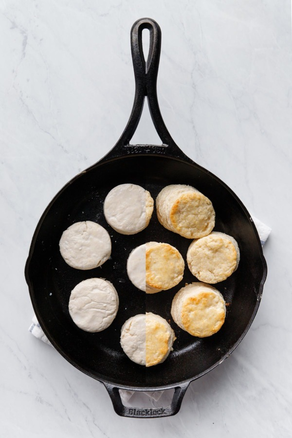 Sourdough Biscuits before and after baking in a cast iron skillet