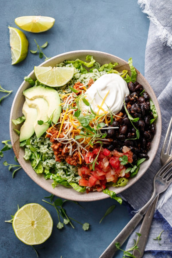 Overhead of Turkey Taco Bowls with Cilantro Rice