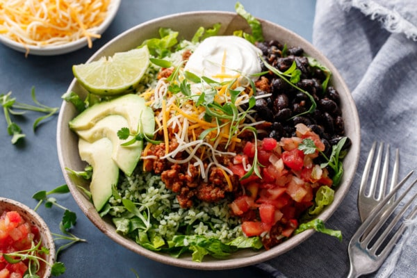 Turkey Taco Bowls with Cilantro Rice