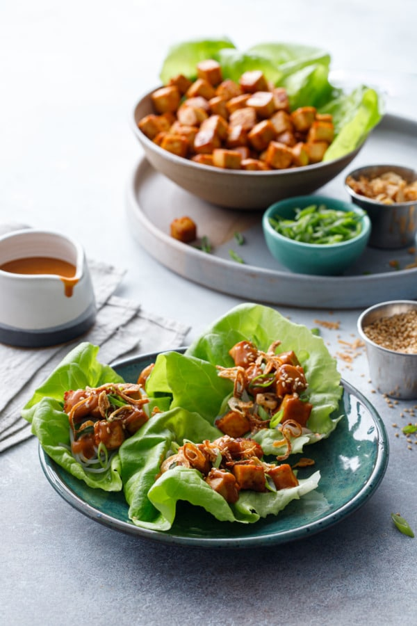Baked Tofu Lettuce Wraps with Spicy Peanut Sauce