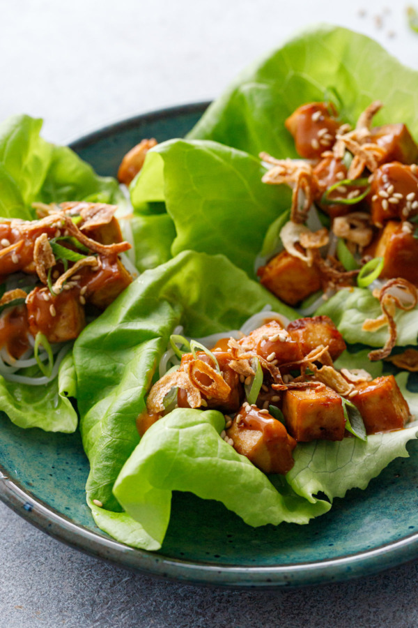 Closeup Baked Tofu Lettuce Wraps with Spicy Peanut Sauce