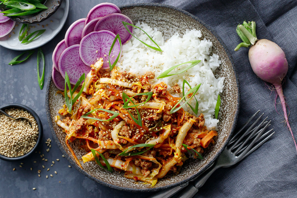 Spicy Korean Egg Roll Bowls with Kimchi