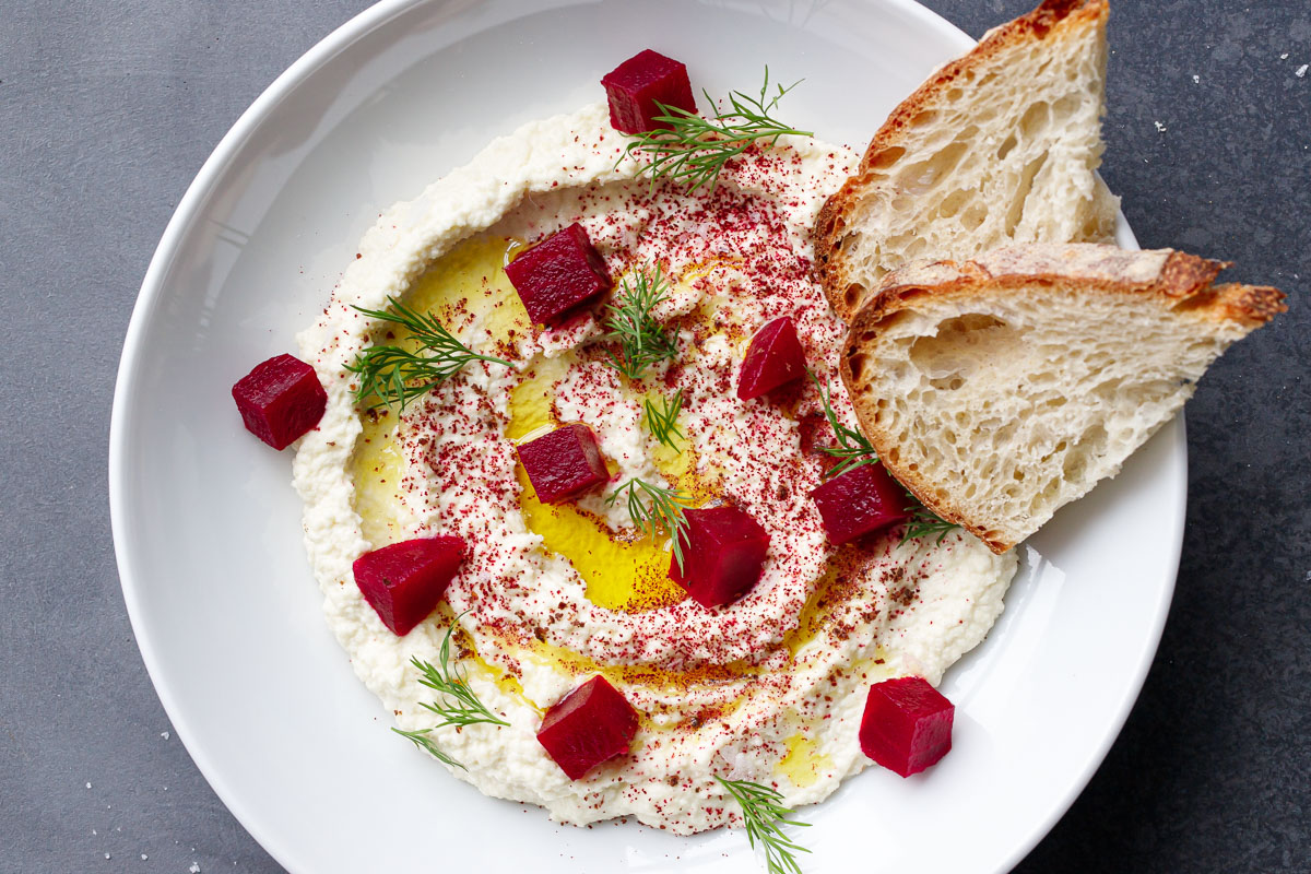 Whipped Almond Dip with Pickled Beets & Sourdough